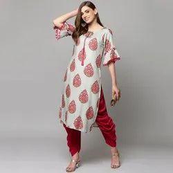Party Wear Ladies Rayon Printed Kurti