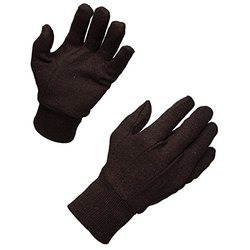 Brown Cotton Knitted Gloves