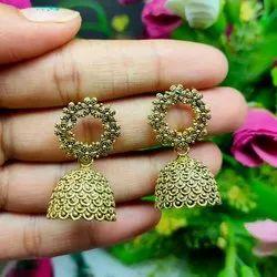 Golden Jhumkin Ladies Brass Jhumka Earrings