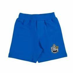 Casual Wear Kids Blue Single Jersey Shorts