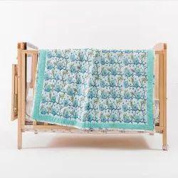 Cotton Owl Hand Block Printed Baby Jaipuri Quilt 60x90