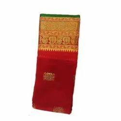 Red Silk Womens Handloom Pattu Sarees, 6.5 m, With Blouse Piece