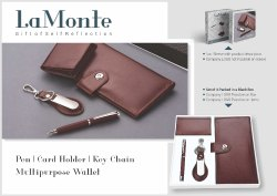 Leatheratte Brown Chequebook Holder Gift Set for Gifting, Packaging Type: Black Box
