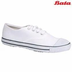 Unisex Bata Tennis CN White Lace Up Canvas School Shoes, Size: 9-1 (uk)
