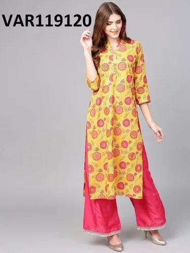 Yellow Stitched Multi Colour Cotton Printed Kurtis, Size: XXL