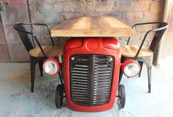 K D Craft Exports Wooden Industrial Restaurant Tractor Table