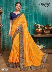 Yellow Color Designer Vichitra Silk Saree