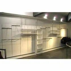 Open Storage Wall Mounted Glass Slatwall Shelves, For Showroom