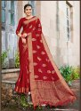 Red Banarasi Jute Linen Saree  With Blouse Piece