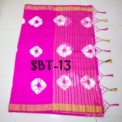 Saree Fabric:Tussur Silk With Hand Print