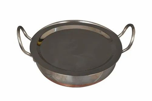 Stainless Steel Copper Bottom Kadai Capacity 1 5 LTS with lid