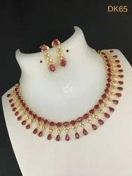 Golden, Red Wedding Cubic Zirconia Artificial Necklace Set, Packaging Type: Box