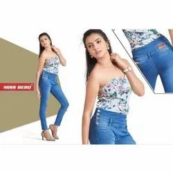Miss Bebo Skinny Ladies Stretchable Jeans, Waist Size: 28-34 and also available in 36-40