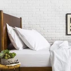 Rectangular Plain Hotel White Pillow Cover