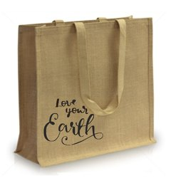 Brown Nylon Strap Jute Shopping Bag