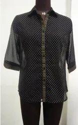 polyester Collar Neck black shirt