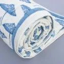 Cotton Handmade Blue Block Print Double Bed Jaipuri Rajai Summer Quilt