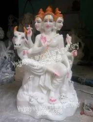 Pure White Marble Dattatreya Statue
