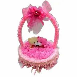 Fur Cute Teddy Couple In A Beautifully Decorated Basket, For Gifting