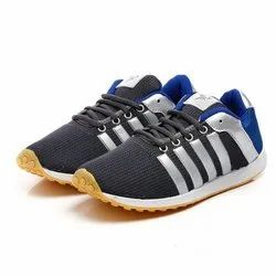 Mens Dark Grey & Royal Blue Polyester Jogging, Walking and Running Shoes