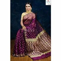 Party Wear Printed Designer Muslin Jamdani Silk Saree, 6 m With Blouse Piece