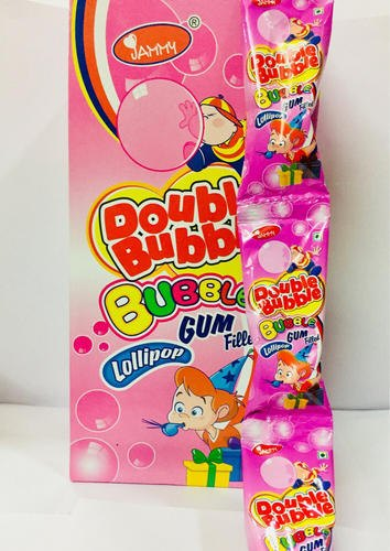 Jammy Double Bubble Doubble Bubble Gum Filled Lollipop