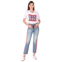 Snugg Fit Regular Ladies Light Blue Red Stripe Stretchable Jeans, Waist Size: 26-32