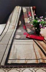 Soft Handloom Silk Weaving Saree With Zari Woven Checks Over and Pallu With Satin Woven Border