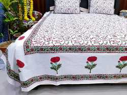 White Bed Sheet In Colorful And Hand Block Print