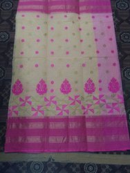 Ladies Pink And White Embroidery Cotton Saree
