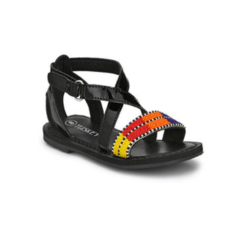 65b2150a04a5 Genuine Leather Girls Black Casual Leather Sandal