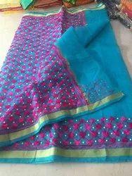 Kota Doria Embroidered Aari Work Kota Pearl Saree With Blouse, Length: 6.3 m (With Blouse Piece)
