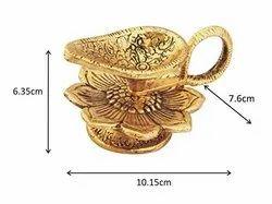 Gold Plated Flower Diya