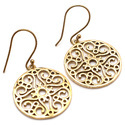 Circular Round Brass Top Class Vintage New Style Hook Earring Golden Plated