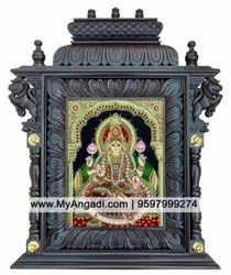Wooden Brown Lakshmi Tanjore Painting with Temple frame