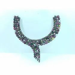 Rose Cut Diamonds With Multi-Color Tourmaline Handmade Solid Sterling Silver Black Rhodium Necklace