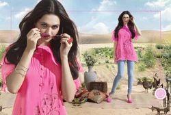 Good Looking Pink Color Fancy Georgette Kurti