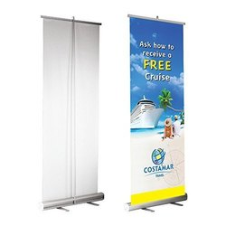 Silver Aluminium Roll Up Banner Stand, Size: 3x6, for Promotional