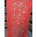 Red Embroidered Fabric, Gsm: 200-250