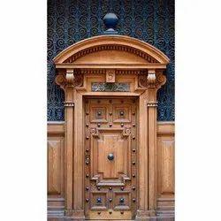 Teak Wood Brown Designer Temple Door