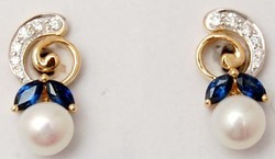 brilliant tiny diamond studded pearl ,blue sapphire solid gold earring