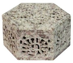 Soapstone Flower Design Boxes