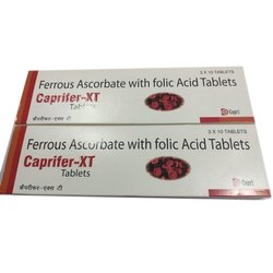 Capri Ferrous Ascorbate With Folic Acid Tablets for Clinical, Packaging Type: Strip