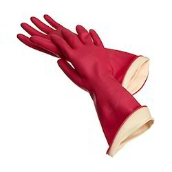 Latex With Cotton Lining Rubber Hand Gloves