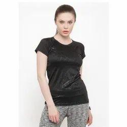 4 Way Lycra Round Ladies Half Sleeve Sports T Shirt