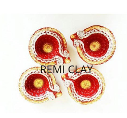 4 Decorative Clay Diya Set