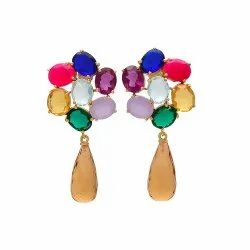 Multi Gemstone Drop Earring