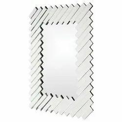 Silver Glass Rectangular Frameless 3D Mirror, For Hotel