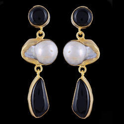 Black Onyx Gemstone Stud Long Earrings