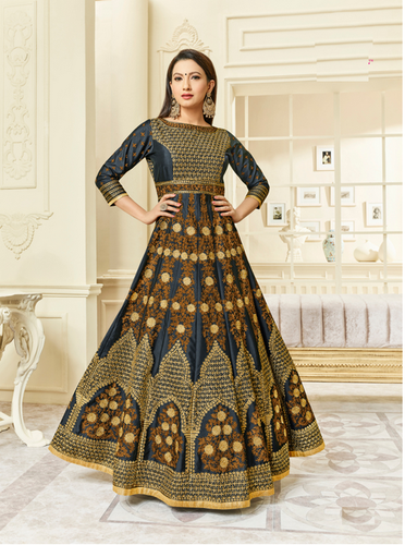 b2ed441bf4 Blue And Golden And Brown Shahbeez Designer Anarkali Salwar Suit, Rs ...
